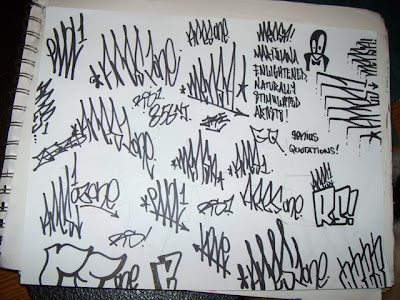 Graffiti alphabet on paper