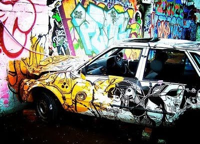 graffiti car crash