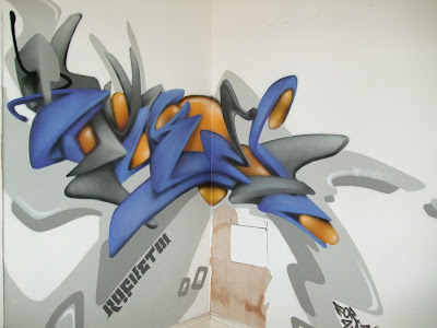 blue graffiti, graffiti 3d