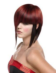 червена коса екстравагантна къса прическа