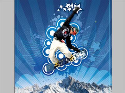 векторен плакат Сноубордист