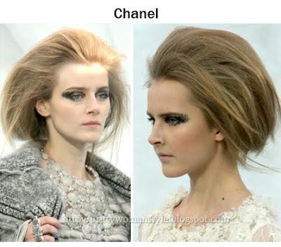 Прическа с бретон назад и много обем на косата