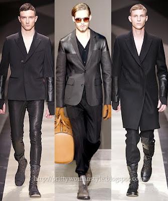 мъжки костюми от кожа и плат