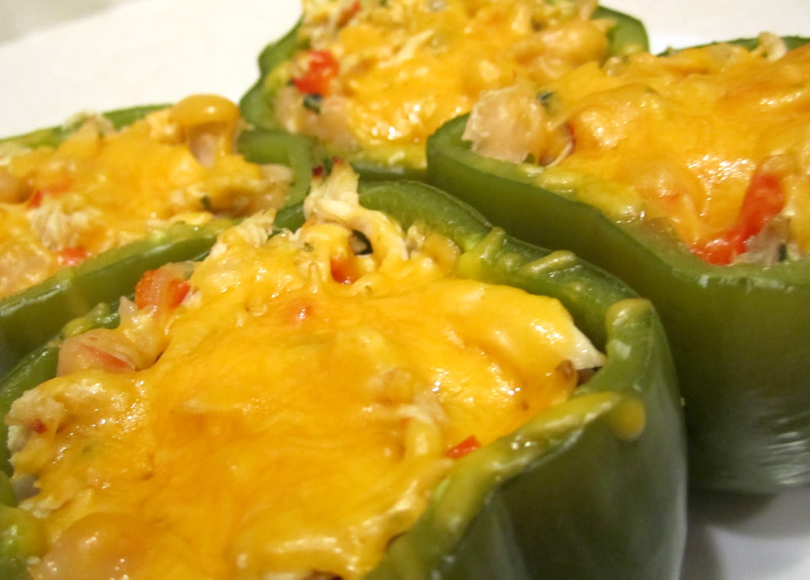 Gals and a Kitchen: Chicken and White Bean Stuffed Peppers