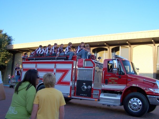 Parade with Seymour,Texas football team & Fire Department