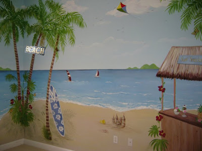 Beach and water themed nursery murals for Beach themed mural