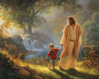 Jesus holding hands with little boy
