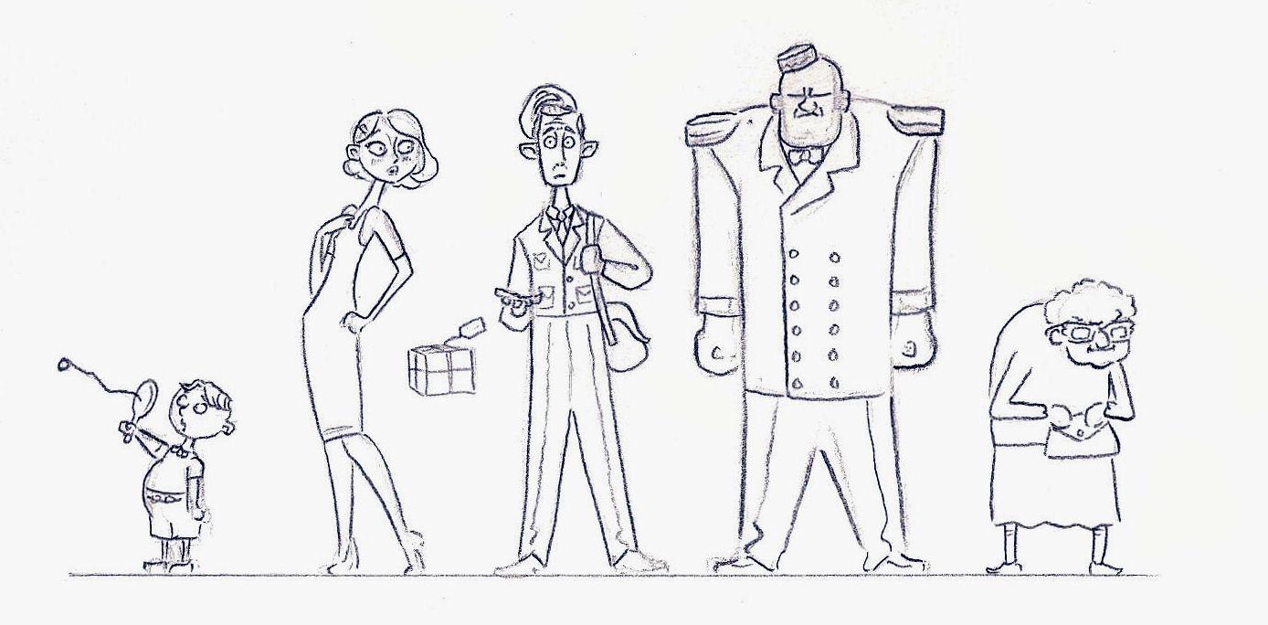 Character Design Lineup : Joshua flynn design development theatre usher