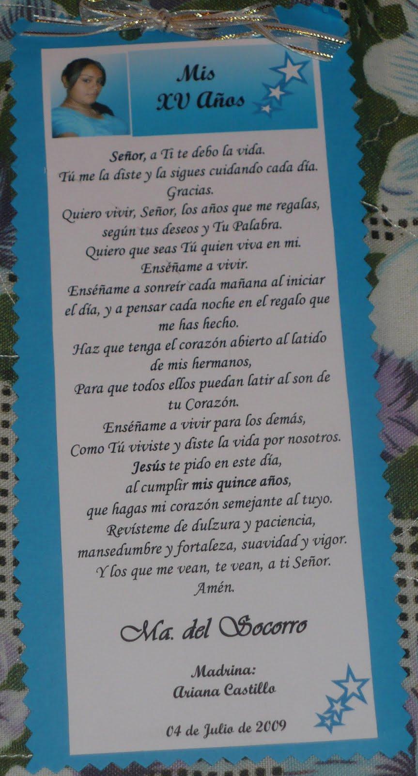tarjeta de oracion para xv anos