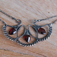 Garnet Fans Woven Necklace in Oxidized Sterling Silver Closeup