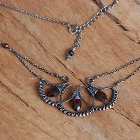 Garnet Fans Woven Necklace in Oxidized Sterling Silver