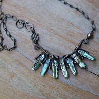 Pearls Fan Necklace - Oxidized Copper Artisan Necklace