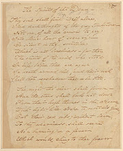 Copia del manuscrito original del poema de Poe The Spirits of the Dead.