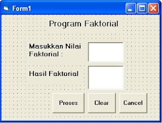 program faktorial dengan VB 6.0