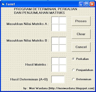 program matriks dan determinan dengan VB 6.0