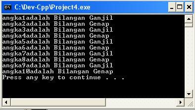 program angka dengan bahasa C++