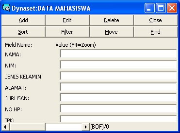 program database dengan visual data manager