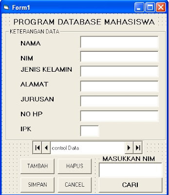form program database mahasiswa dengan VB 6.0