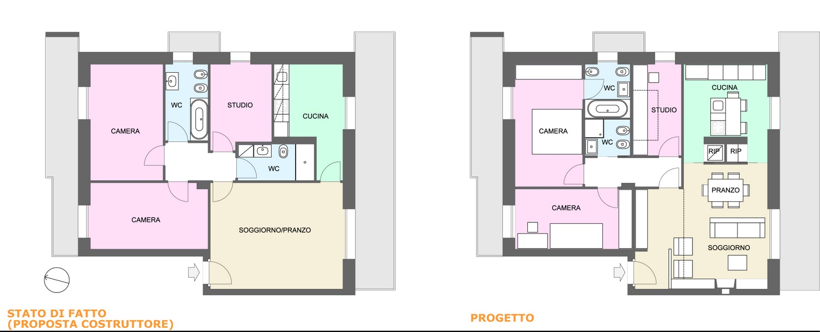 Appunti di architettura progettati da gk architetti abitazione di 85 mq - Progetto casa 85 mq ...