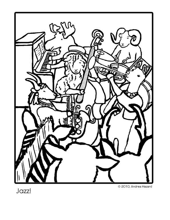 jazz coloring pages - andrea hazard children 39 s books jazz coloring page