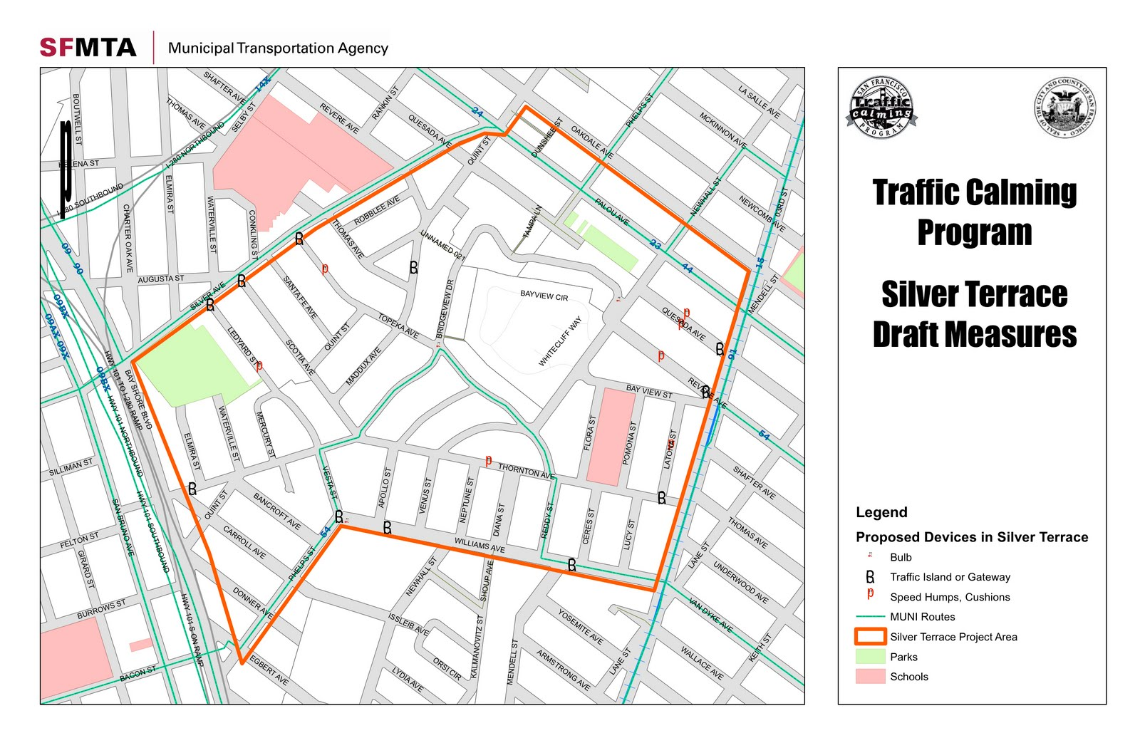 the sfmta has been working hard in the planning stages of local level traffic calming measures in the silver terrace neighborhood of d10