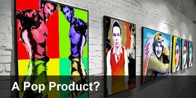 Pop art Tarkan hanging on gallery wall