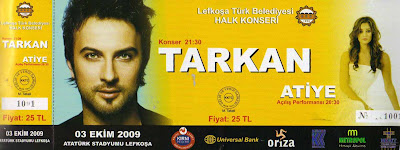 Tarkan concert ticket from the KHYD; Help for Cancer Sufferers
