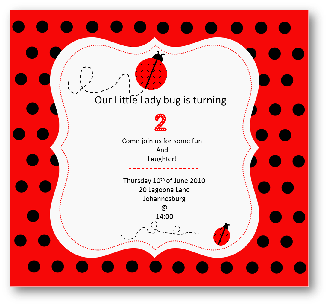 40th Birthday Ideas: Ladybug Birthday Invitation Templates