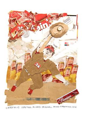 baseball player bade out of grain belt beer packaging