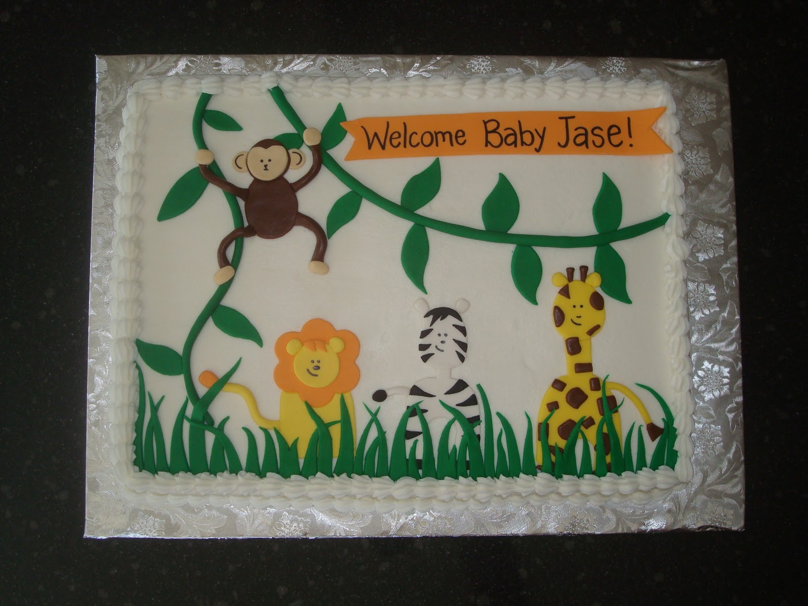 Jungle Theme Sheet Cake Images http://sugarboosweets.blogspot.com/2010/10/safari-baby-shower-cake.html