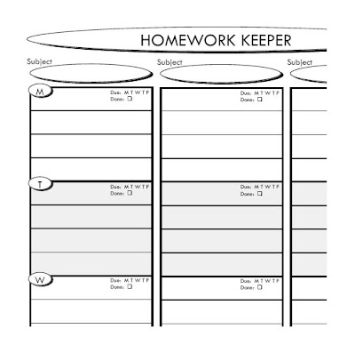 homework planner middle school