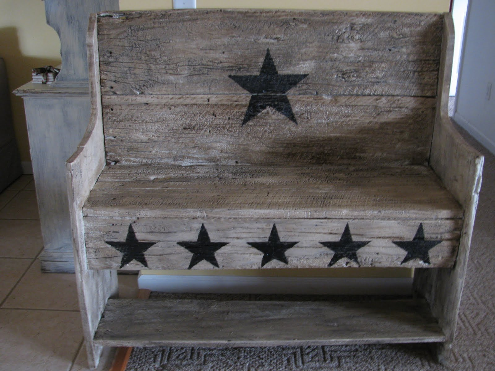 Barn Creations: Old Barn Wood Bench. Full resolution‎  pic, nominally Width 1600 Height 1200 pixels, pic with #545F77.