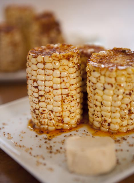 ... Course: Chile Maple Lime Corn on the Cob with Cocoa Nib-infused Butter