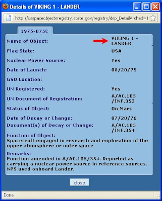 US Space Registry Search Details