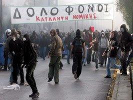Protesta chobenil en Grezia