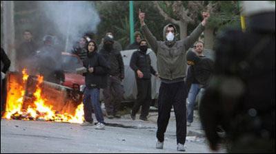 Chóbens griegos en protesta
