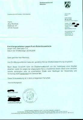 Frank Babenhauserheide, IDS Herford, Einstellung §154 1 StPO