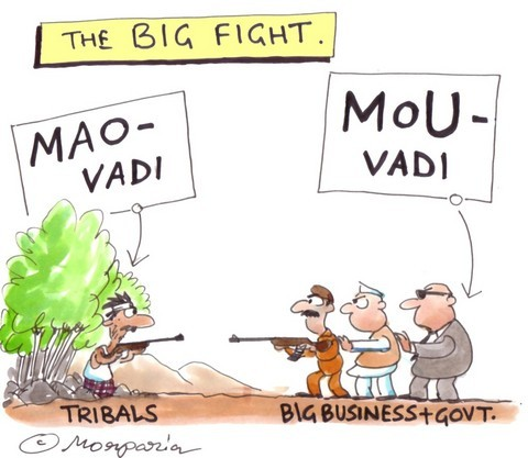Operation Green Hunt Cartoon Tribal Maoist vs Indian State and Capitalists