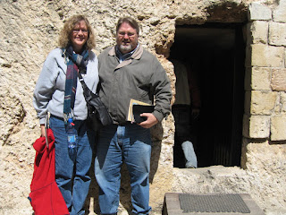 Mrs. and Dr. Leo Percer in front of the Garden Tomb