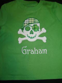 Boys St. Patrick's day applique Pirate shirt @ SAME Monogram