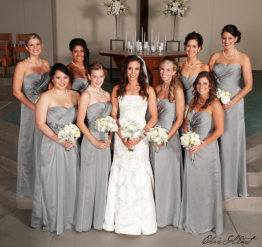 Fiori floral design it 39 s all about the details for Silver wedding dresses for bridesmaids