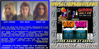 Rush 1974 Agora Ballroom Cleveleand + Don Kischner bootleg ART FRONT