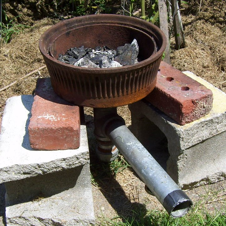 Brigham Copies Nate's Forge (by stealing this brake drum from someone's junk pile).