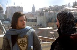 Balian (Orlando Bloom, left) and a newly anointed Knight (Martin Hancock) prepare to defend Jerusalem against overwhelming forces.
