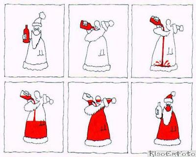 Papai Noel branco toma vinho até ficar vermelho.