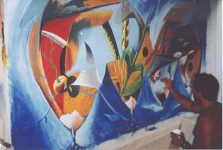 pintura Burity - painel alimentos mundiais