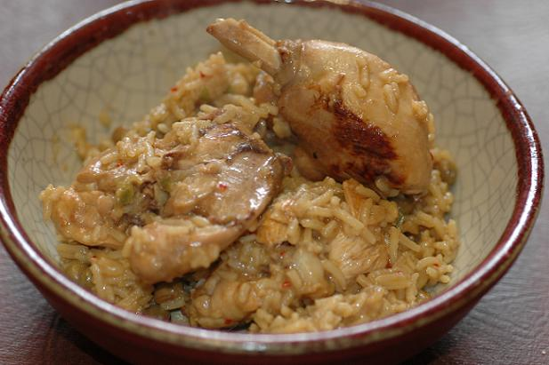 Pelau (rice, chicken and pigeon peas)