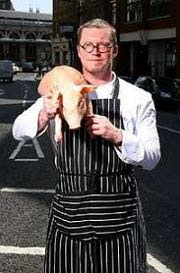 Fergus Henderson with the culinary mascot of St. John