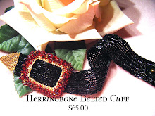 Dramatic Red Crystals on Black Herringbone Soft Fabric Feel Bracelet