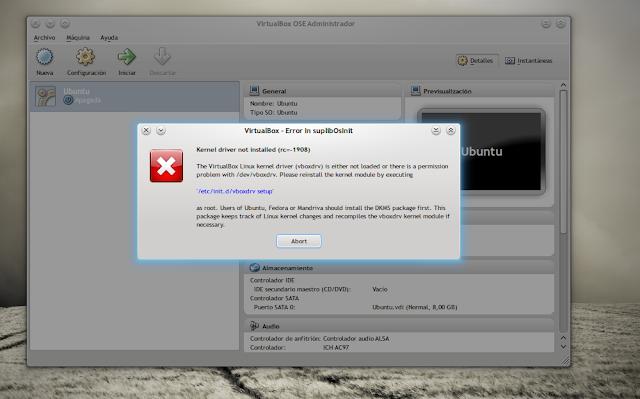 the vboxdrv kernel module is not loaded 3